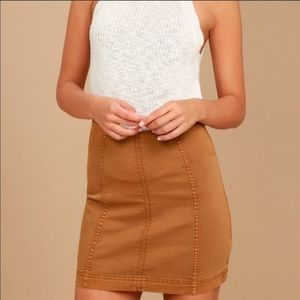 Free people camel mini skirt